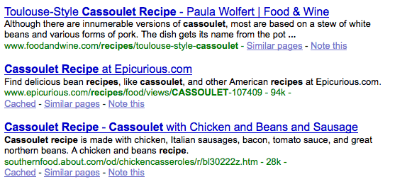 "Google results for ""cassoulet recipe"""